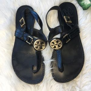 Tory Burch black patent leather flat sandals